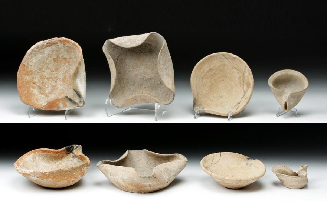 Lot of 4 Bronze Age Pinched Spout Terracotta Oil Lamps