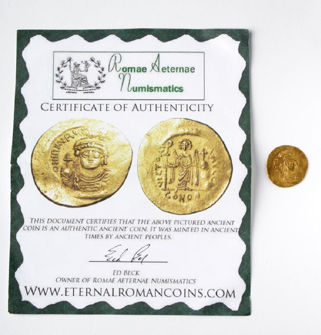 Byzantine Gold AU Solidus Maurice Tiberius - 4.47 G - 3