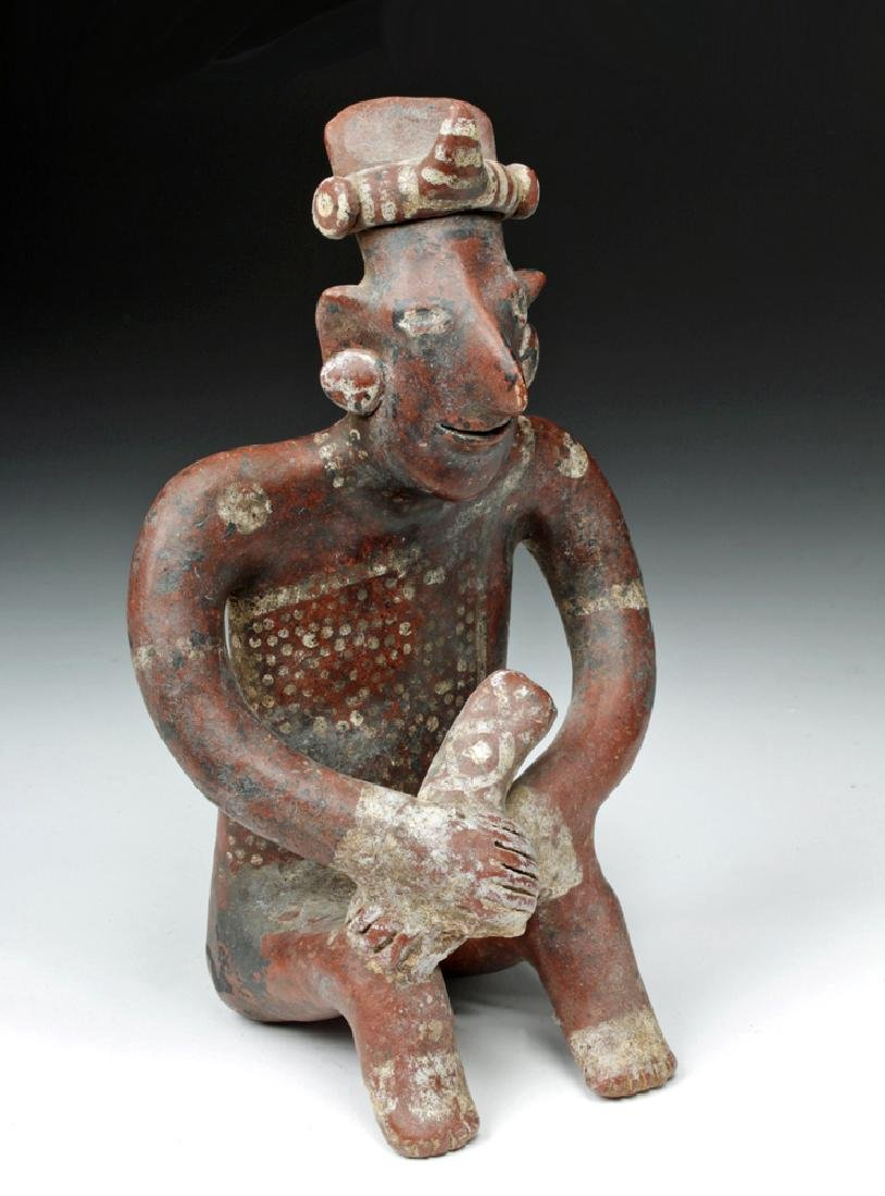 Fine Jalisco Pottery Seated Sheepface Musician