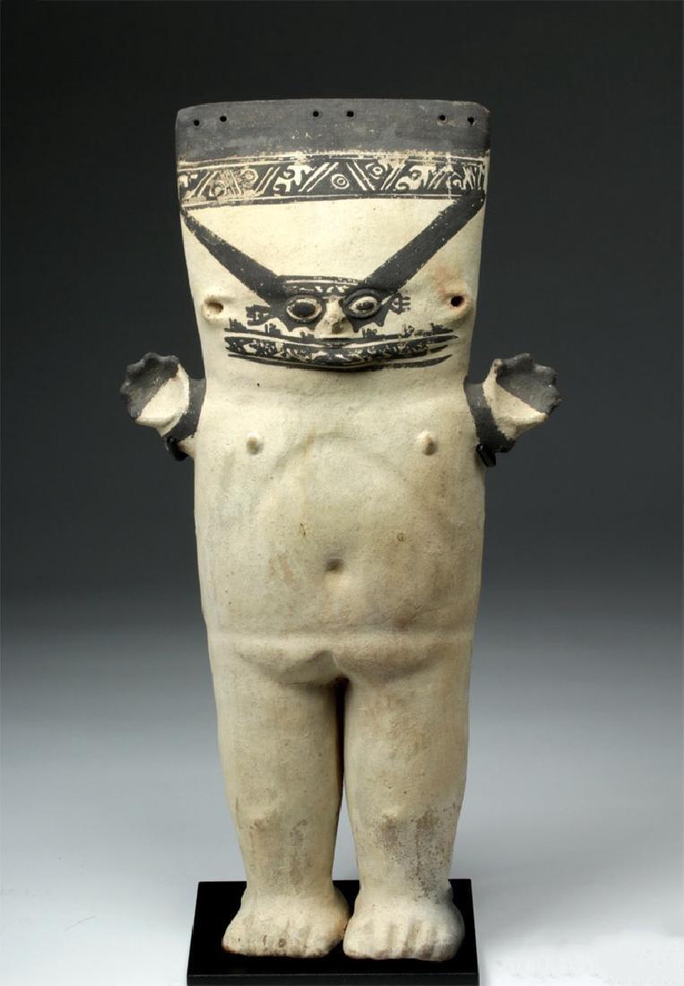 Large Chancay Bichrome Cuchimilco Standing Figure