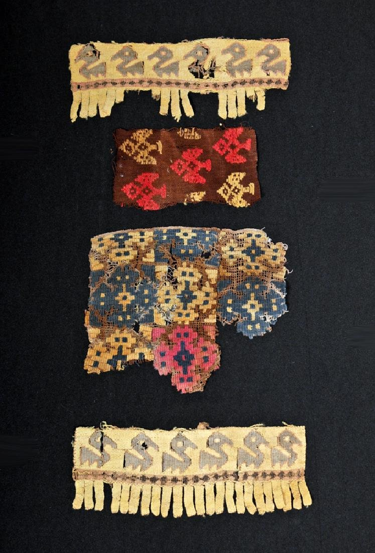 Lot of 4 Ancient Peruvian Textile Fragments