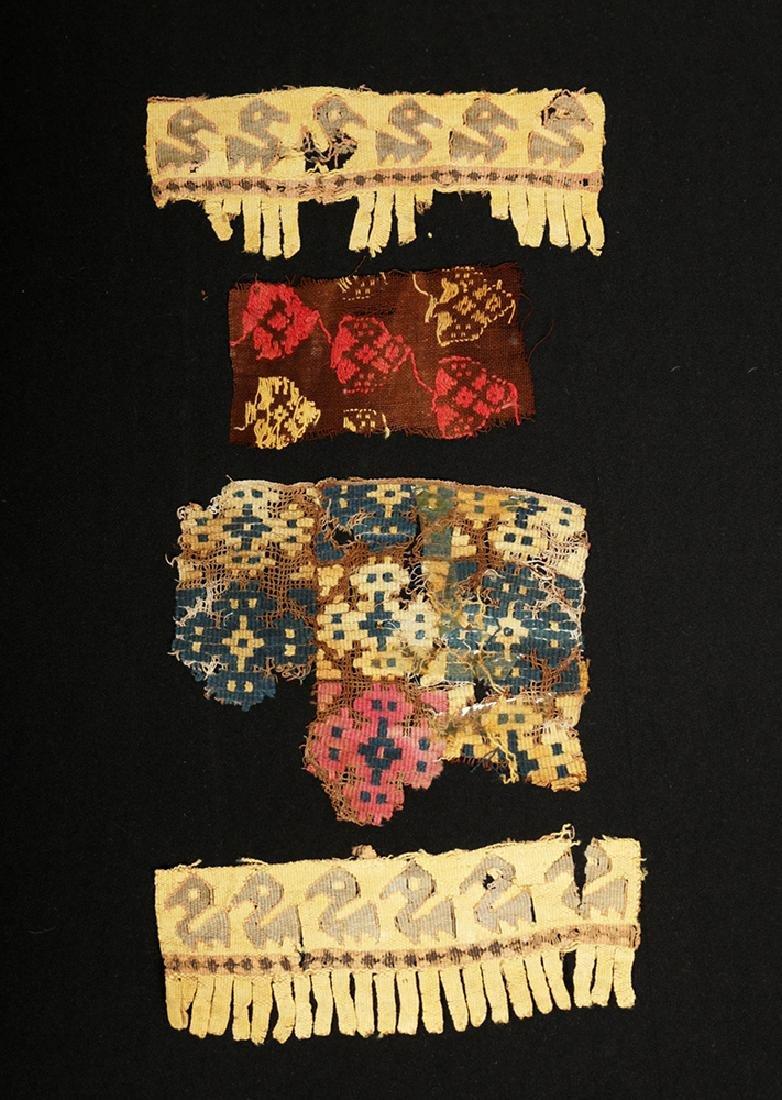 Lot of 4 Ancient Peruvian Textile Fragments - 2