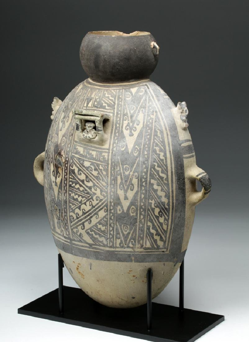 Large Chancay Pottery Amphora with Human in Hut