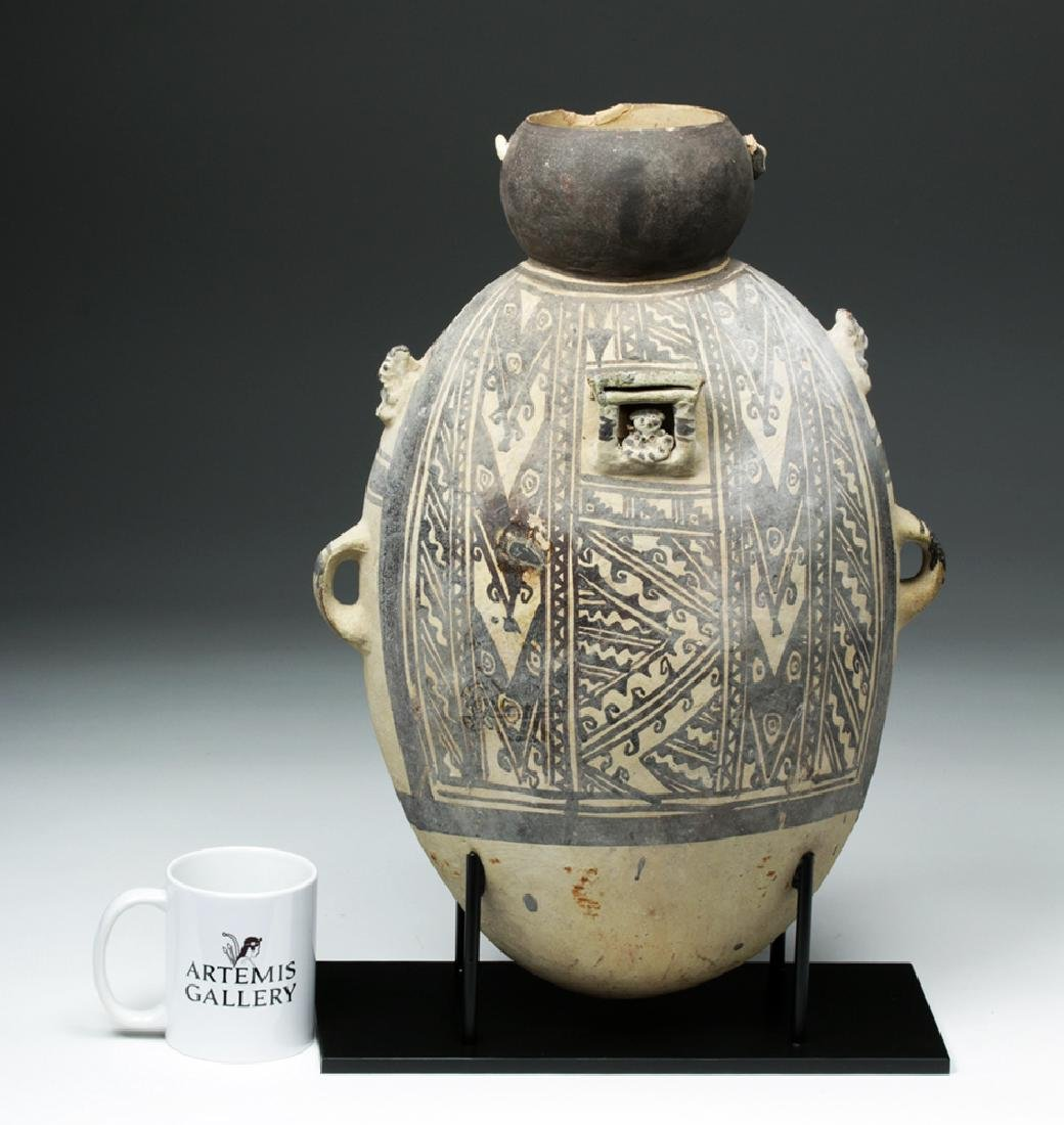 Large Chancay Pottery Amphora with Human in Hut - 2