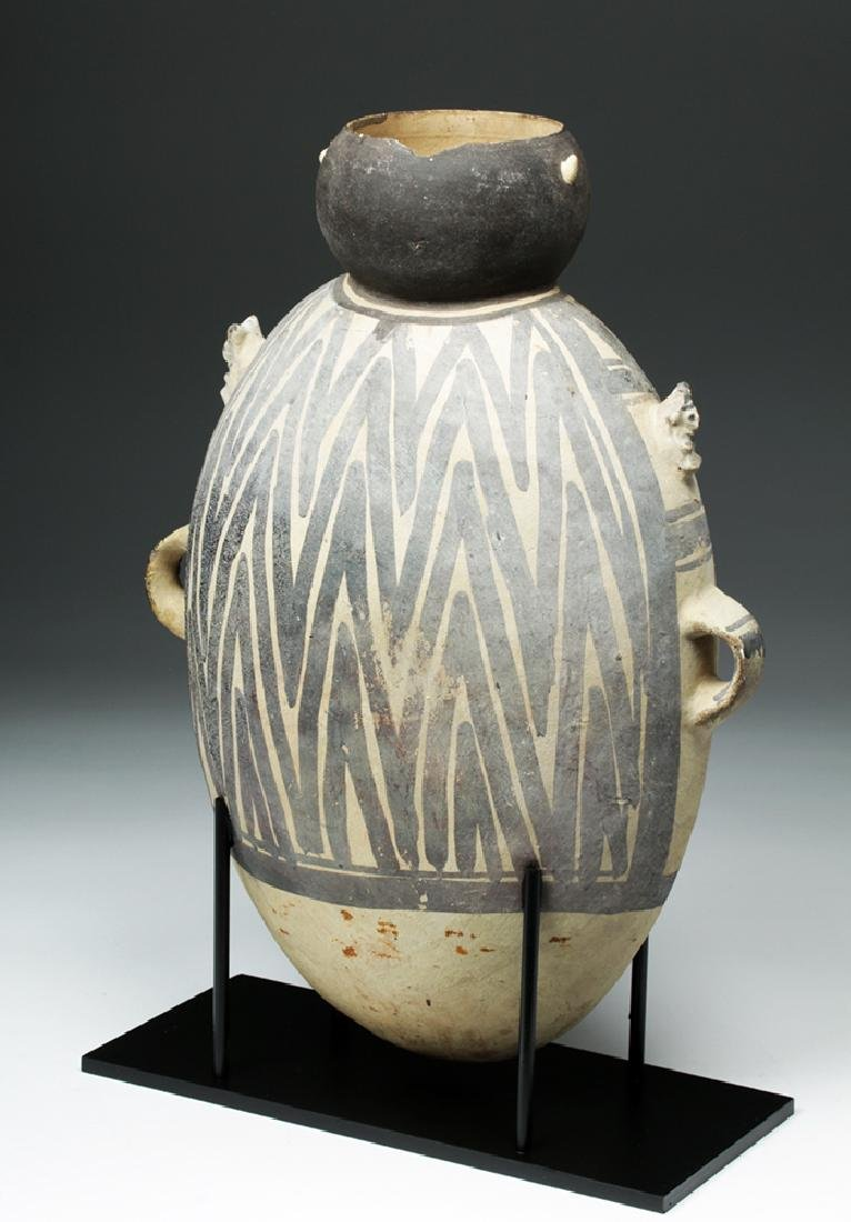 Large Chancay Pottery Amphora with Human in Hut - 4