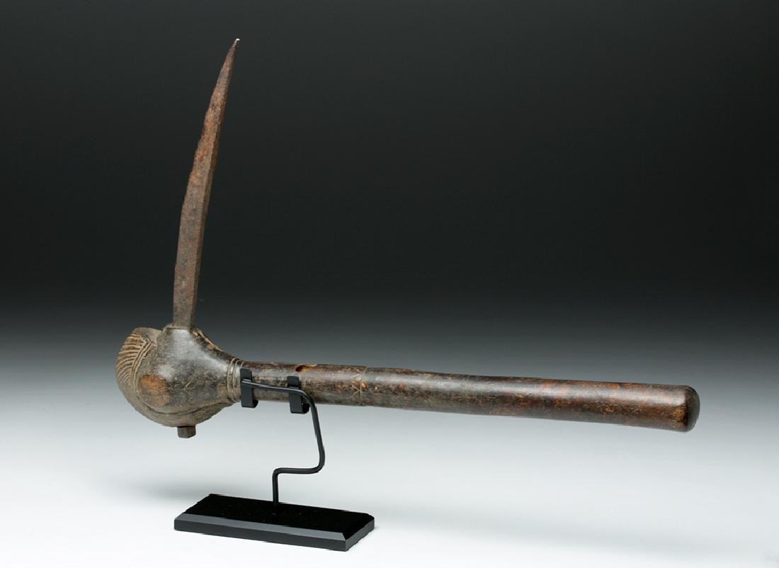 Late 19th C. African Wood & Iron Bird Club - 5