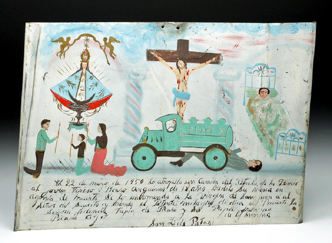 Mid 20th C. Mexican Tin Ex Voto - Auto Accident