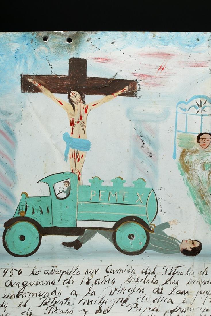 Mid 20th C. Mexican Tin Ex Voto - Auto Accident - 2