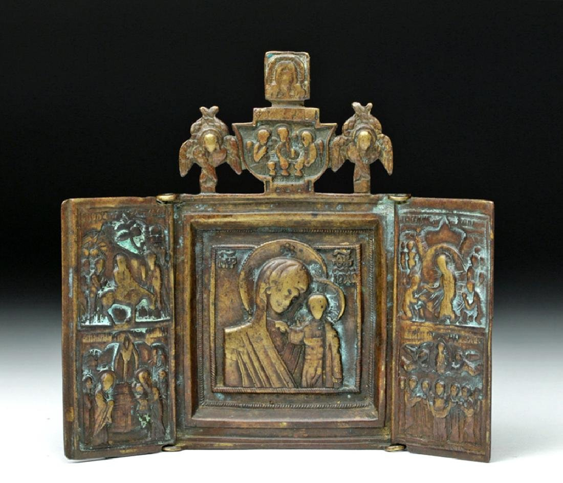 19th C. Russian Bronze Traveling Triptych Icon - Mary