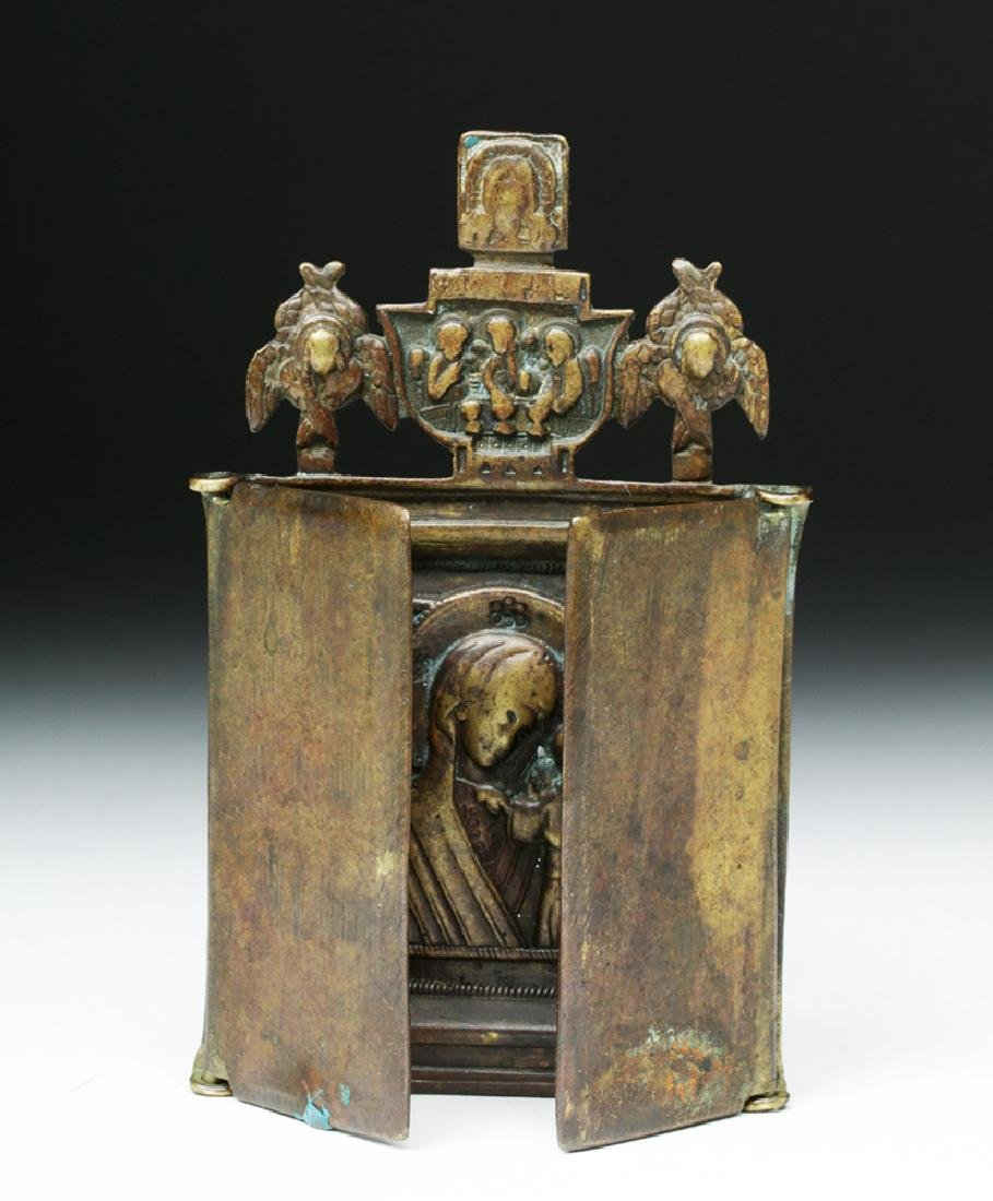 19th C. Russian Bronze Traveling Triptych Icon - Mary - 2