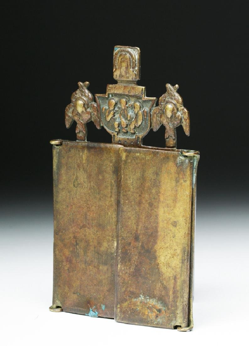 19th C. Russian Bronze Traveling Triptych Icon - Mary - 3