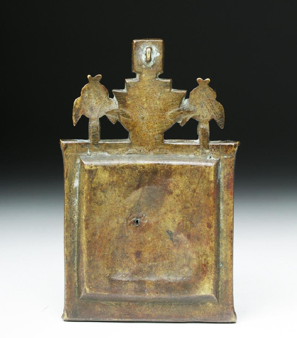 19th C. Russian Bronze Traveling Triptych Icon - Mary - 4