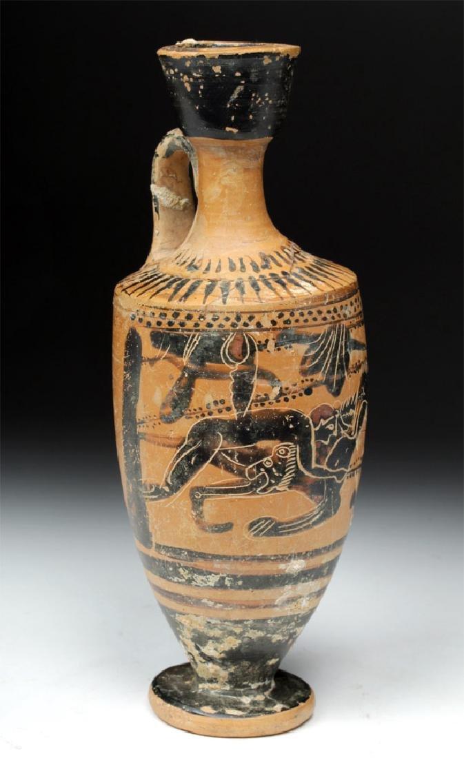 Greek Attic Black-Figure Lekythos Herakles, Nemean Lion