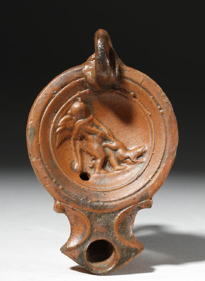 Roman Redware Oil Lamp - Cupid & Dog