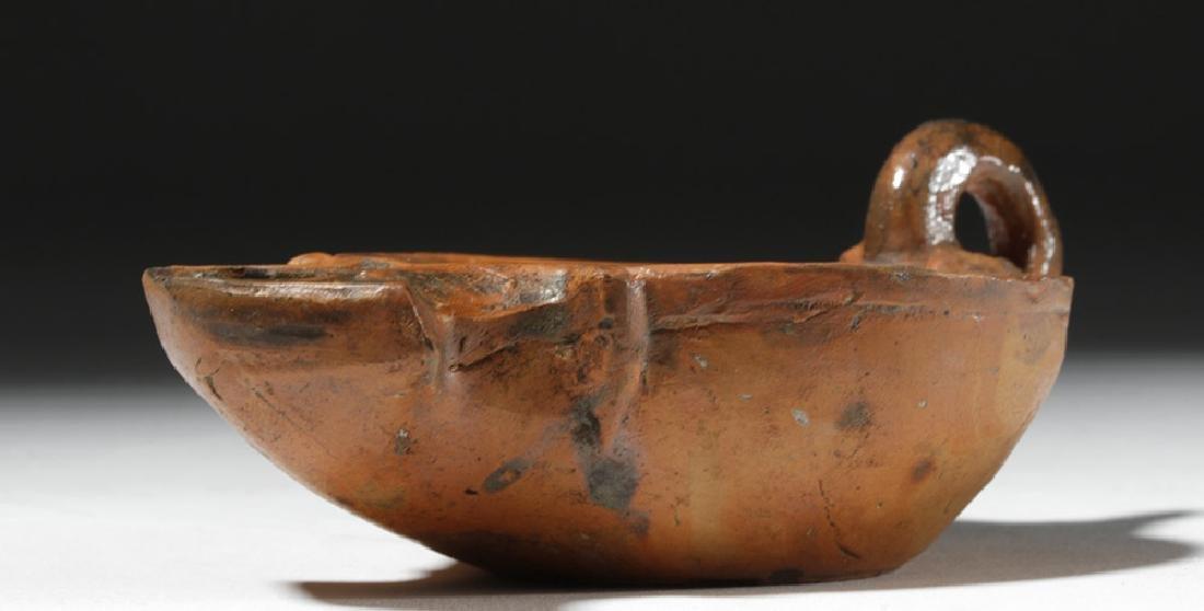 Roman Redware Oil Lamp - Cupid & Dog - 3