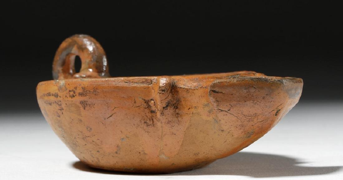 Roman Redware Oil Lamp - Cupid & Dog - 6