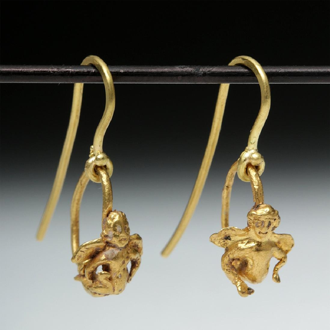 Roman High 18K Gold Earrings w/ Cherubs - 3.1 g