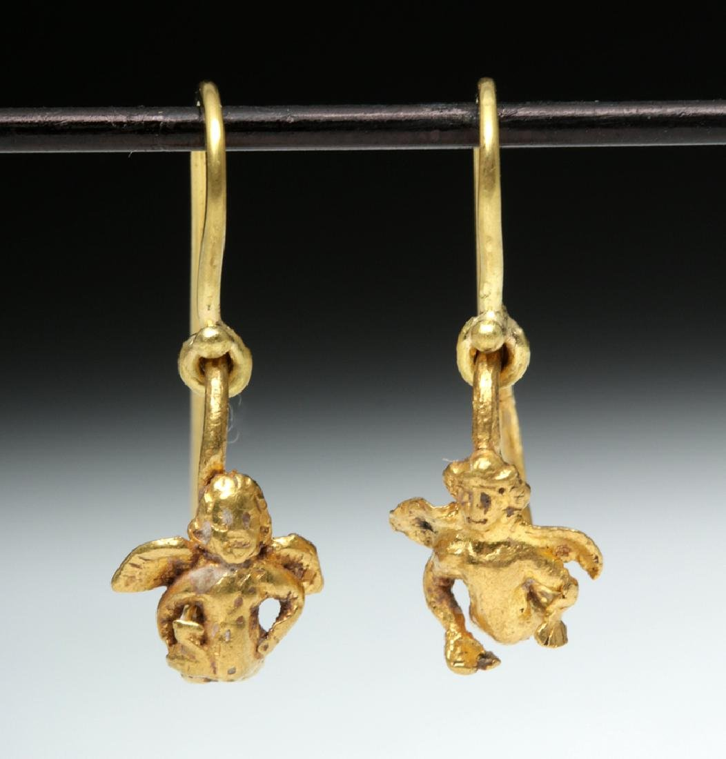 Roman High 18K Gold Earrings w/ Cherubs - 3.1 g - 2