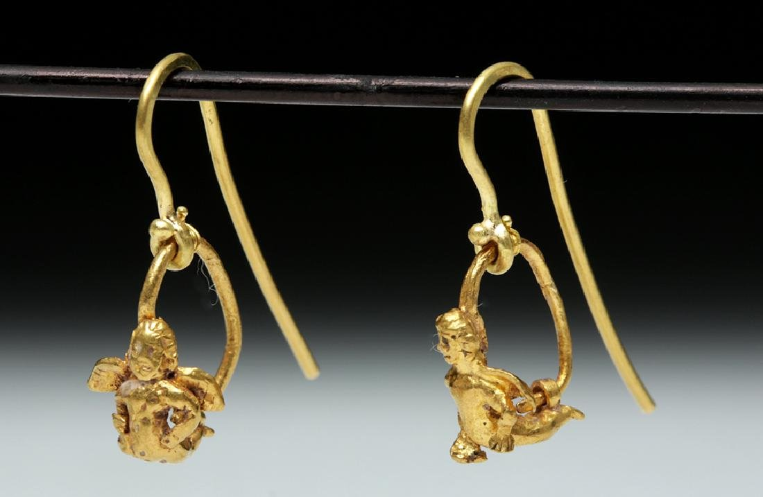 Roman High 18K Gold Earrings w/ Cherubs - 3.1 g - 3