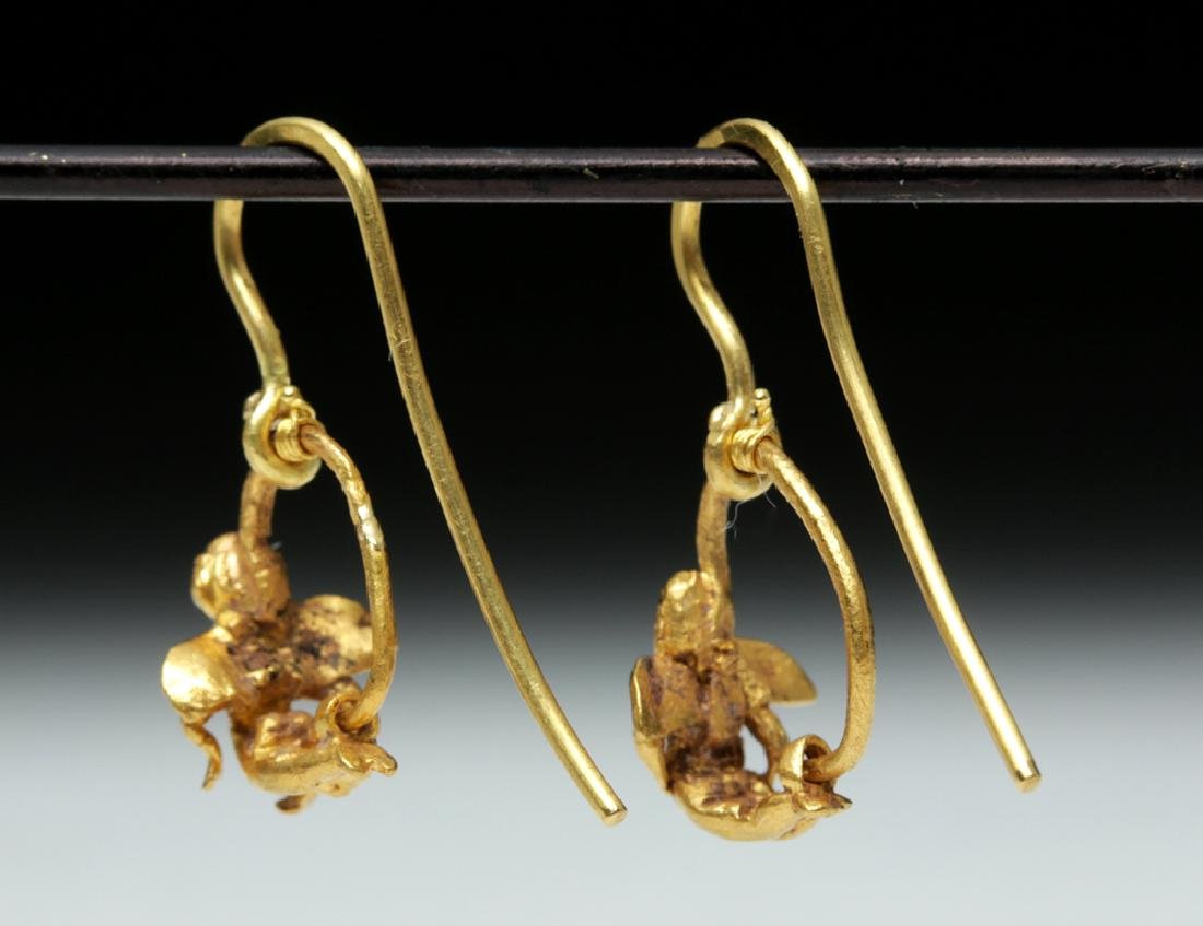 Roman High 18K Gold Earrings w/ Cherubs - 3.1 g - 4