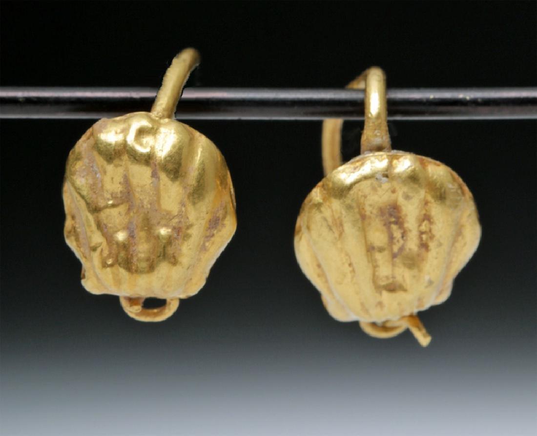 Delicate Roman 18K Gold Seashell Earrings - 2 g - 2