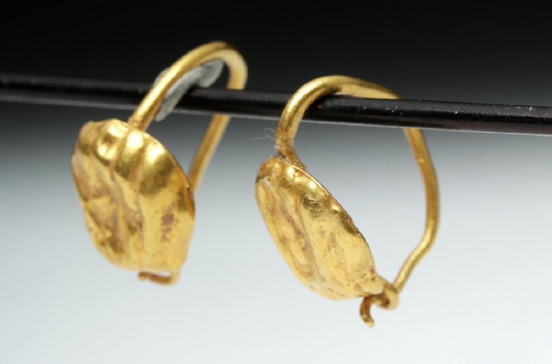 Delicate Roman 18K Gold Seashell Earrings - 2 g - 3