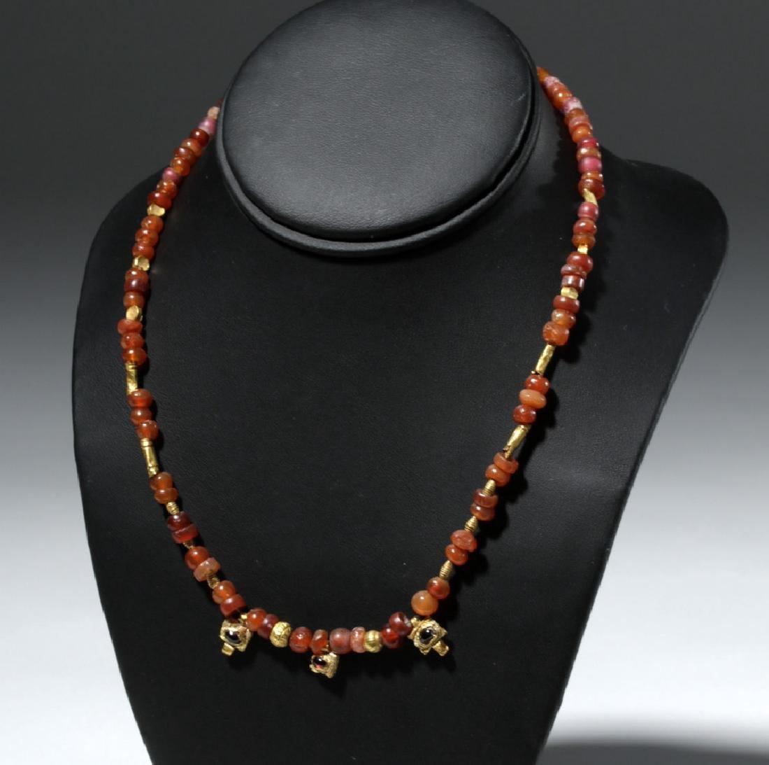 Roman Necklace w/ Carnelian, Garnet and Gold Beads