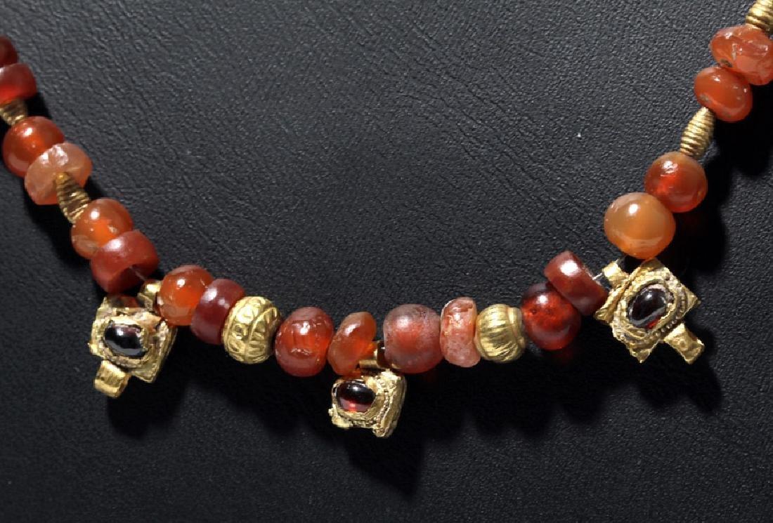 Roman Necklace w/ Carnelian, Garnet and Gold Beads - 2