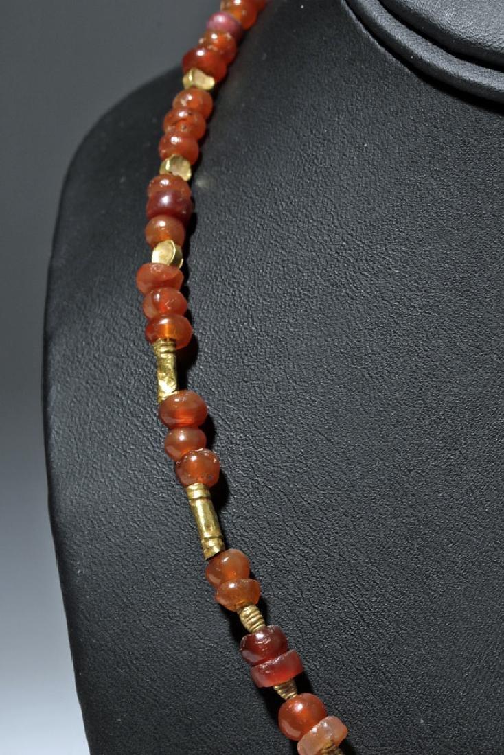 Roman Necklace w/ Carnelian, Garnet and Gold Beads - 4