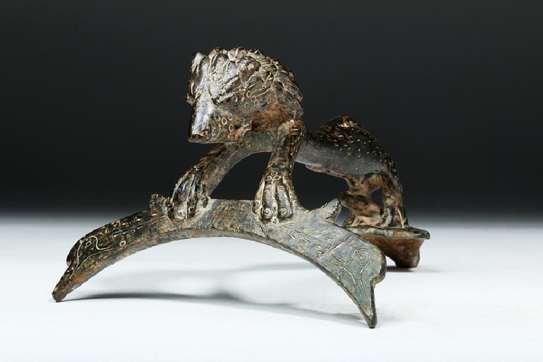 Persian / Sassanian  Bronze Pitcher Handle w/  Lion - 2