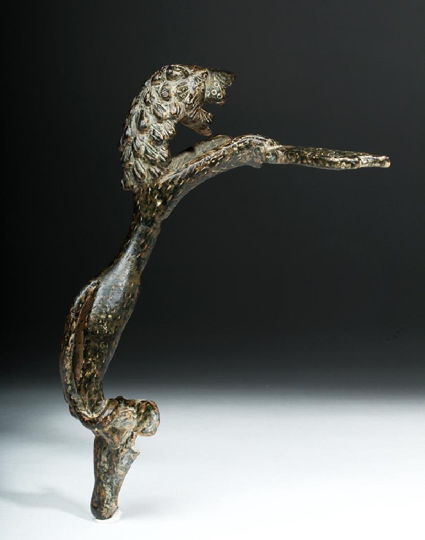 Persian / Sassanian  Bronze Pitcher Handle w/  Lion - 6