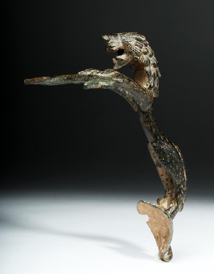 Persian / Sassanian  Bronze Pitcher Handle w/  Lion - 7