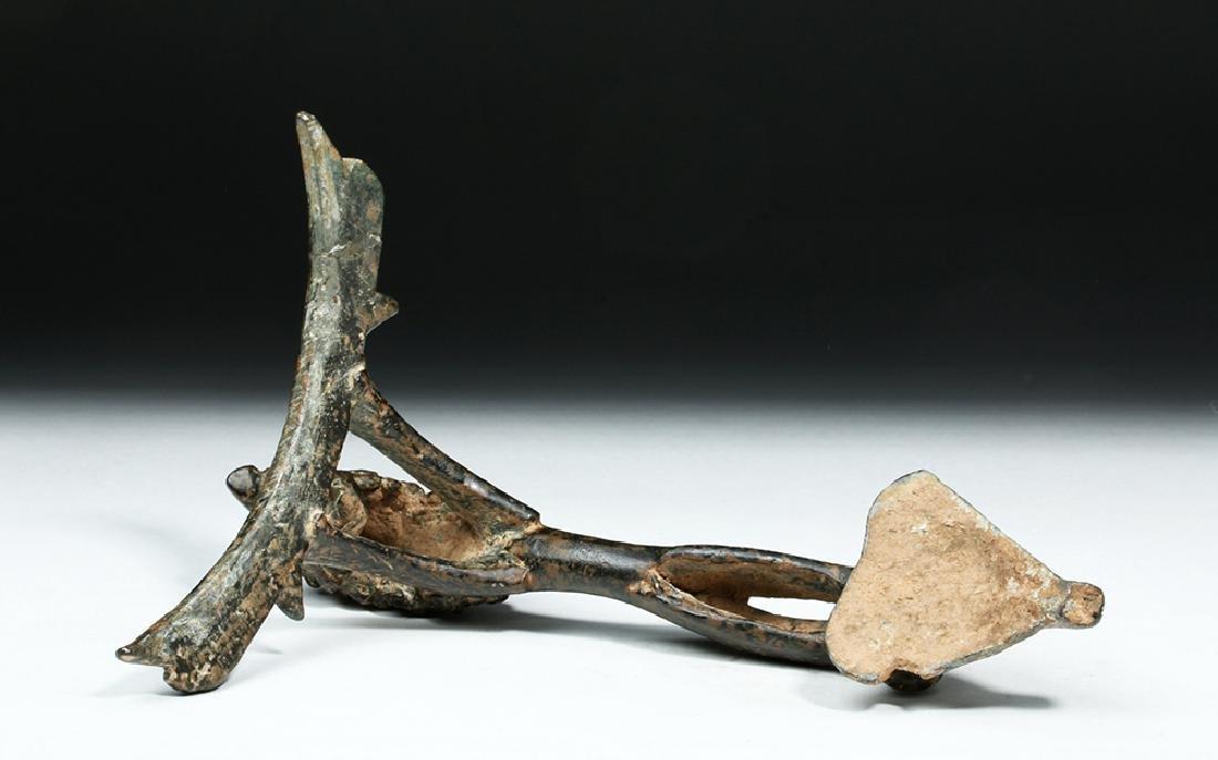 Persian / Sassanian  Bronze Pitcher Handle w/  Lion - 8