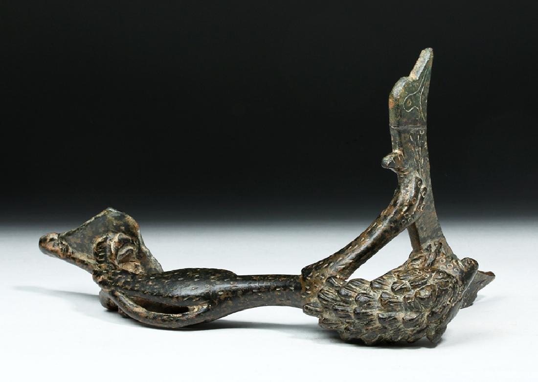 Persian / Sassanian  Bronze Pitcher Handle w/  Lion - 9