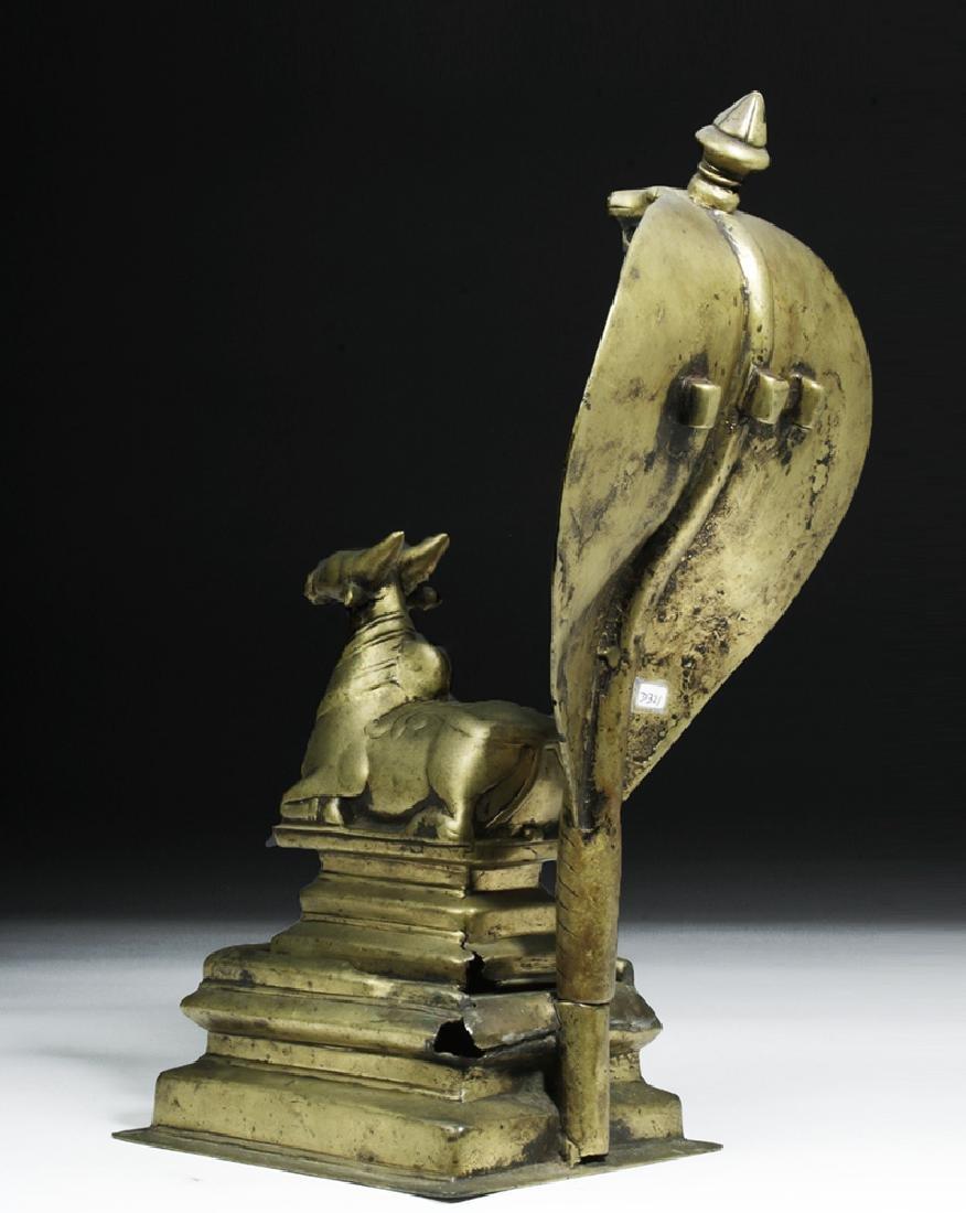 18th C. Indian Bronze Nandi w/ Sheshanaga the Serpent - 3