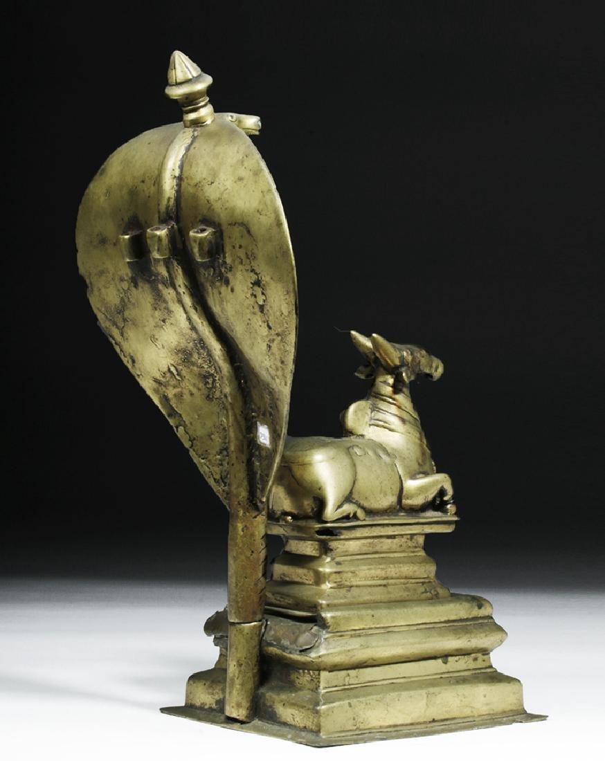 18th C. Indian Bronze Nandi w/ Sheshanaga the Serpent - 4