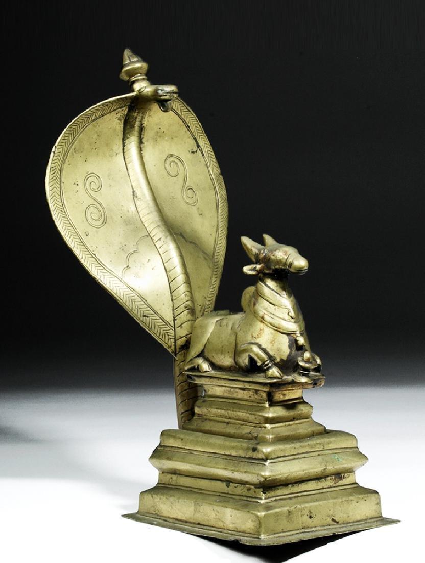 18th C. Indian Bronze Nandi w/ Sheshanaga the Serpent - 5