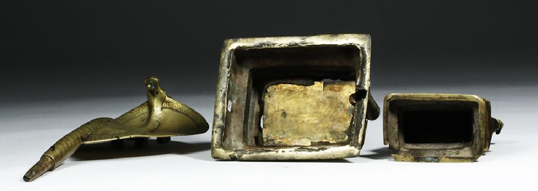 18th C. Indian Bronze Nandi w/ Sheshanaga the Serpent - 8