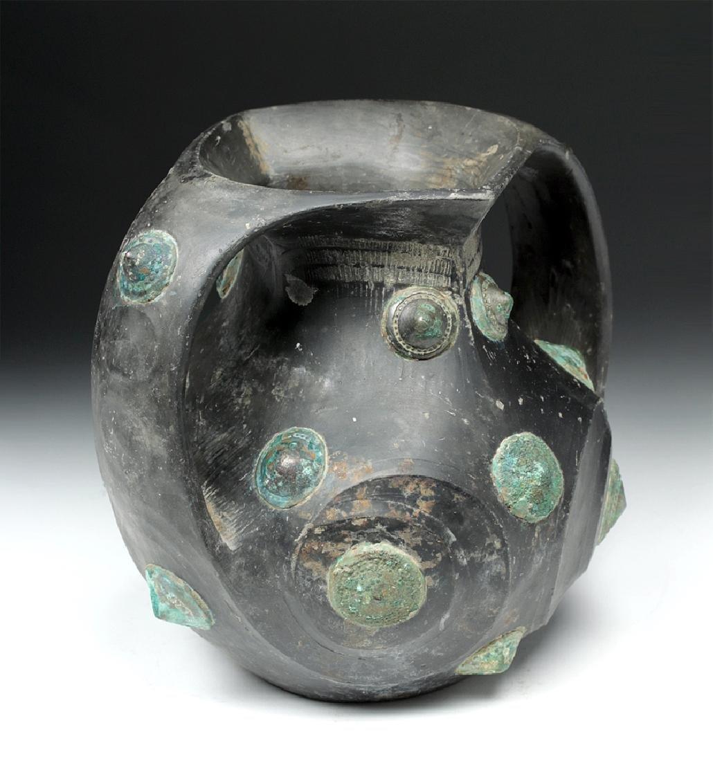 Chinese Han Dynasty Blackware / Bronze Amphora - TL'd - 3