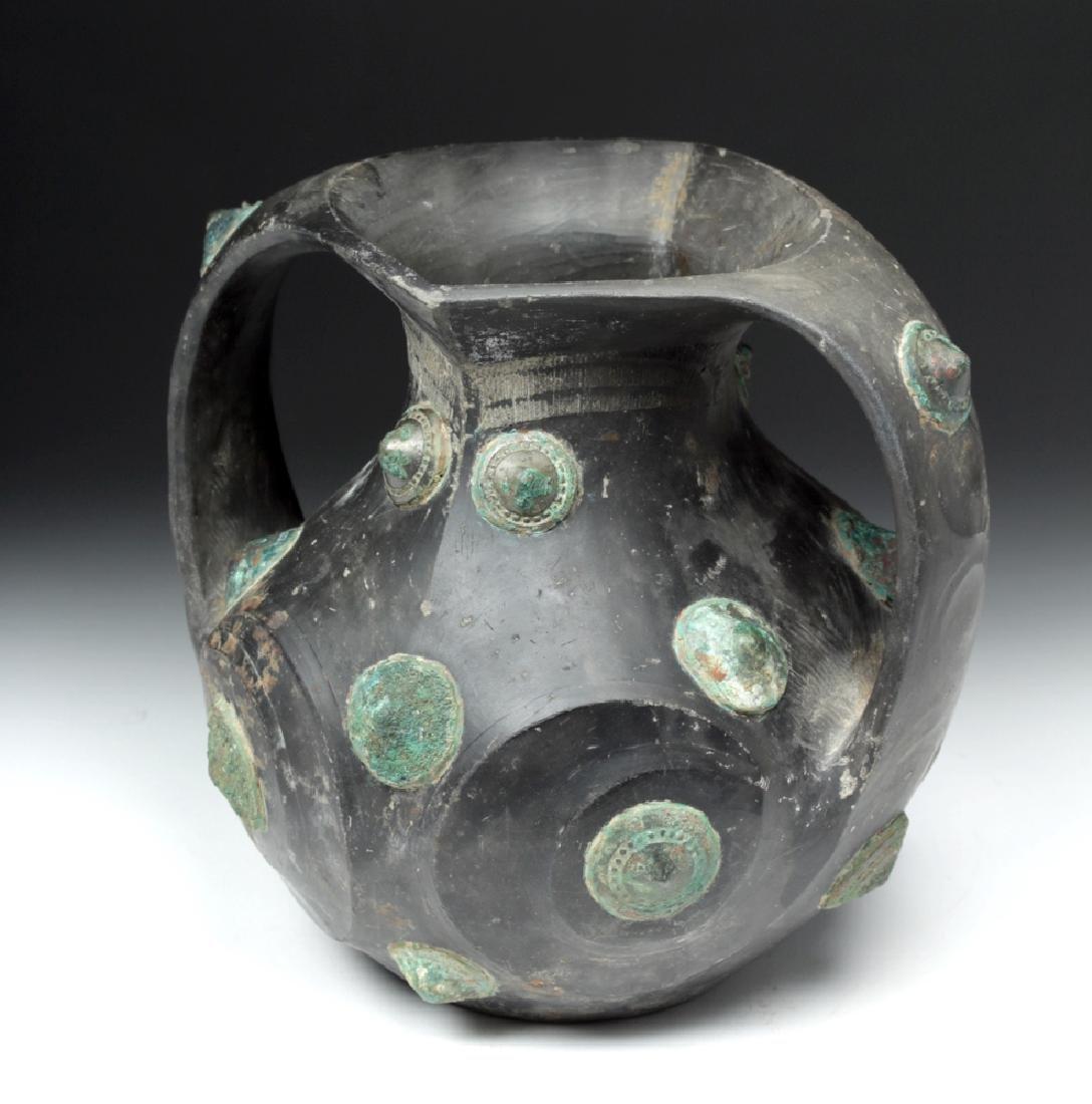 Chinese Han Dynasty Blackware / Bronze Amphora - TL'd - 4