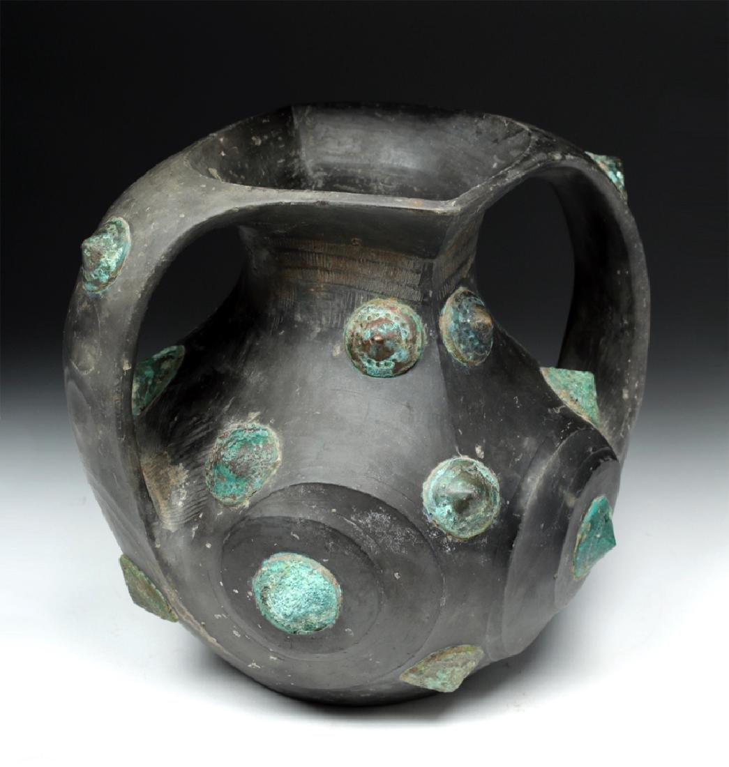 Chinese Han Dynasty Blackware / Bronze Amphora - TL'd - 5