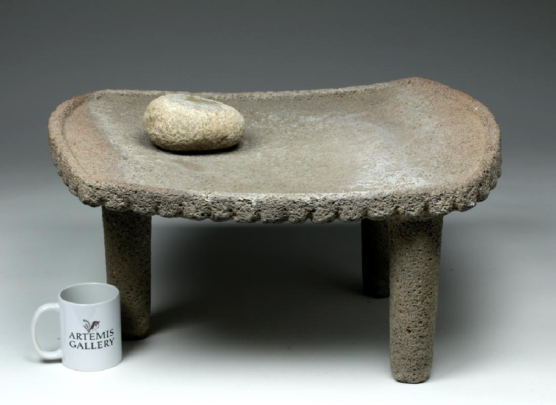 Large Choice Costa Rican Stone Metate & Grinding Stone - 2