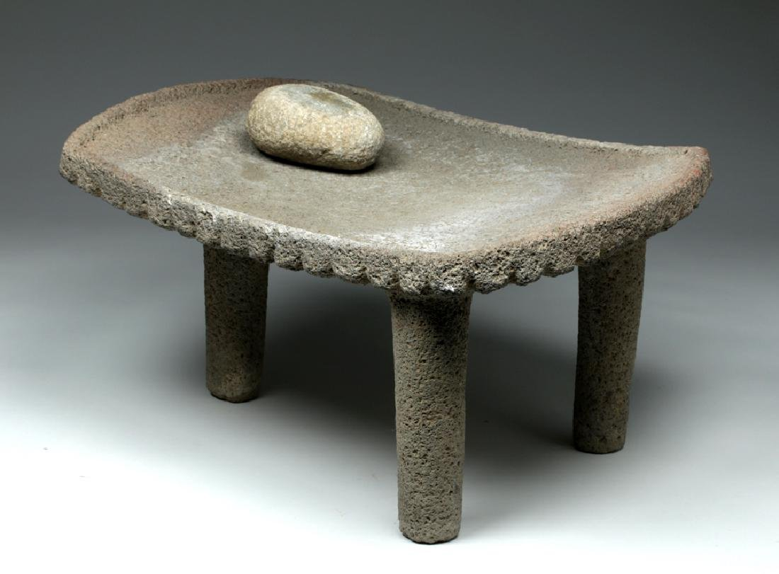 Large Choice Costa Rican Stone Metate & Grinding Stone - 3