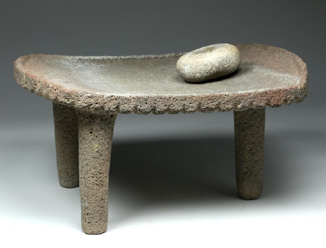 Large Choice Costa Rican Stone Metate & Grinding Stone - 4