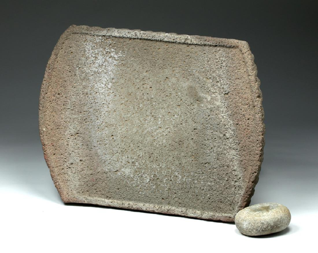 Large Choice Costa Rican Stone Metate & Grinding Stone - 5