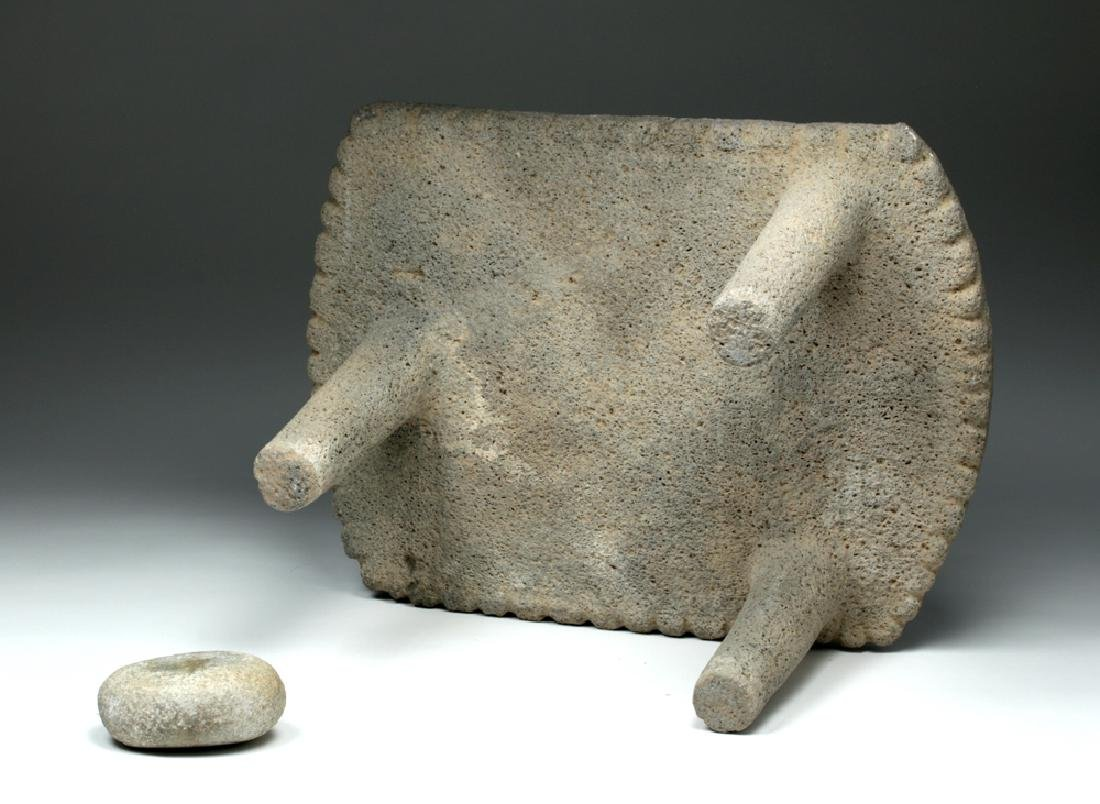 Large Choice Costa Rican Stone Metate & Grinding Stone - 6