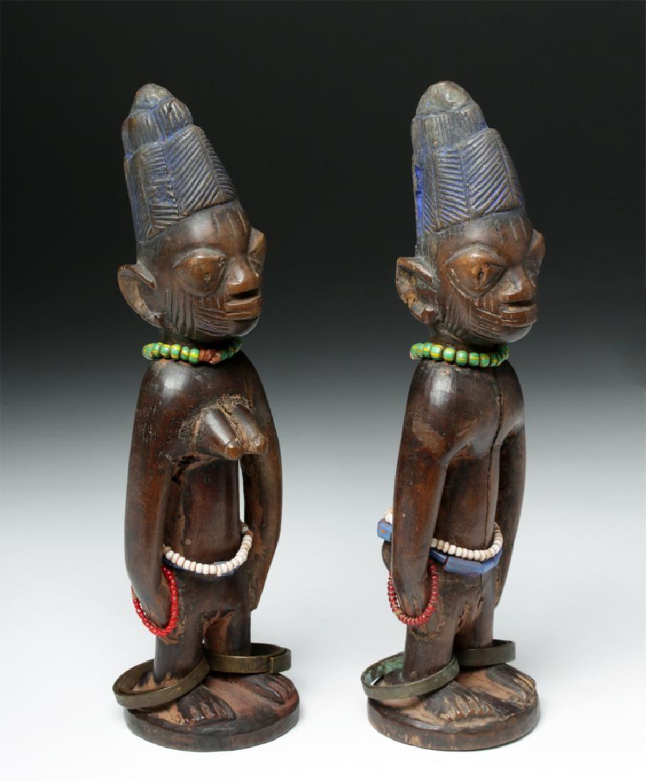 Early 20th C. Fine Pair Yoruba Wood Carved Ibeji Twins