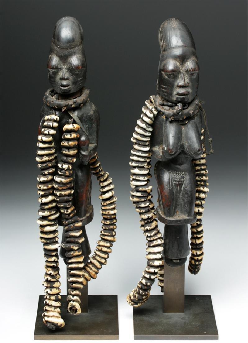 Pair of 20th C. Nigerian Yoruba Esu Staff (Ogo Elegba)
