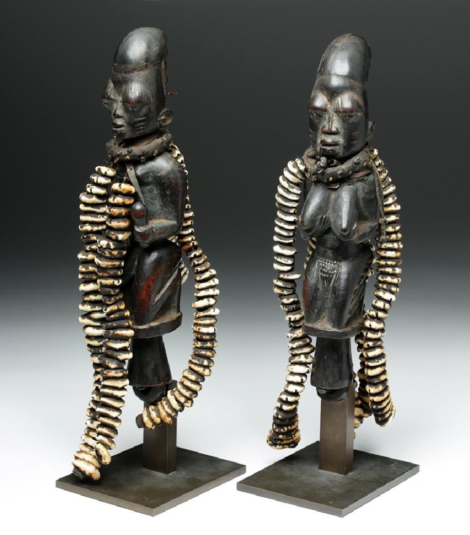 Pair of 20th C. Nigerian Yoruba Esu Staff (Ogo Elegba) - 2