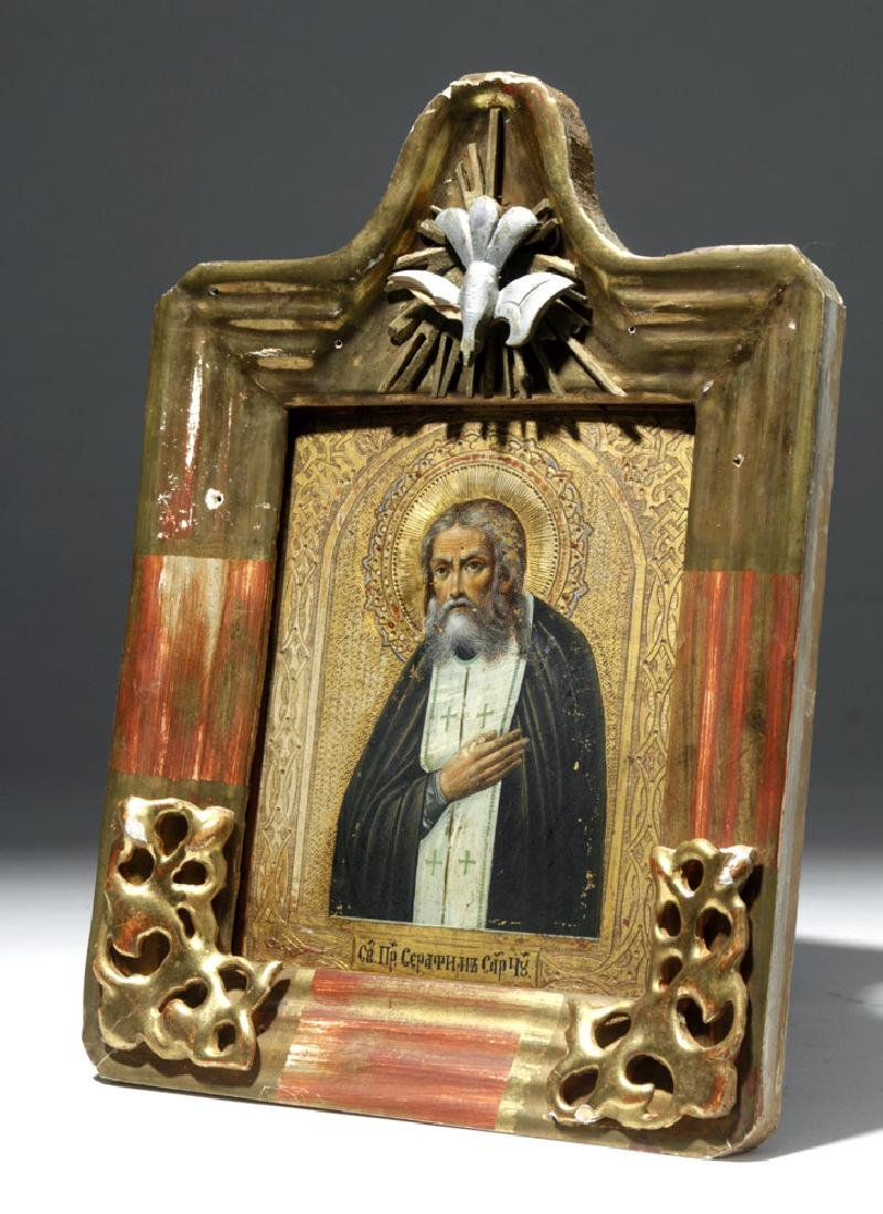 19th C. Russian Framed Icon - St. Seraphim of Sarov - 4